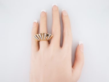Vintage Cocktail Ring Mid-Century .80 Round Brilliant Cut Diamonds in 14k Yellow Gold
