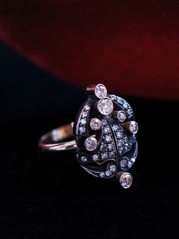 1800's Diamond Cocktail Ring in 14k Yellow Gold & Silver