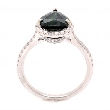2.83 Pear Cut Green Sapphire and Diamond Ring in 14k White Gold