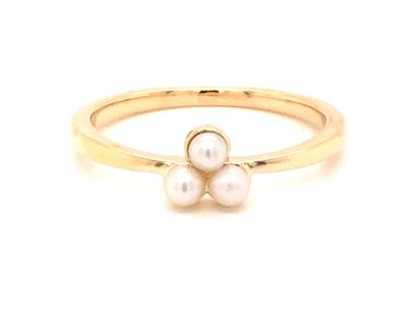 Freshwater Pearl Cluster Ring in 14k Yellow Gold