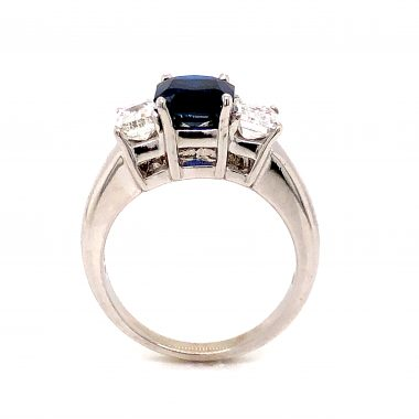 2.18 Cushion Cut Sapphire and Diamond Ring in 14k White Gold