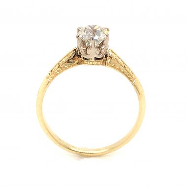 .62 Art Deco Two-Tone Diamond Engagement Ring in 14k Yellow Gold