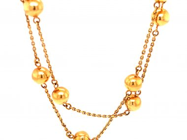 Mid-Century 31 Inch Gold Bead Necklace in 14k Yellow Gold