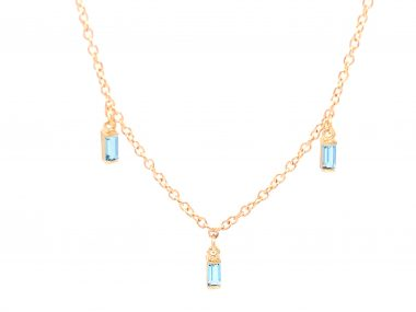 .42 Blue Topaz Necklace in 14K Yellow Gold