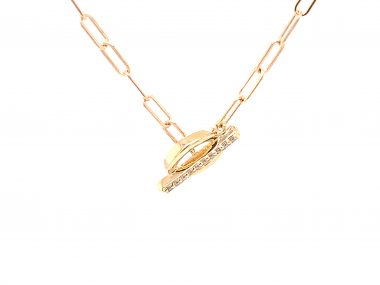 .04 Diamond Toggle Necklace in 14K Yellow Gold