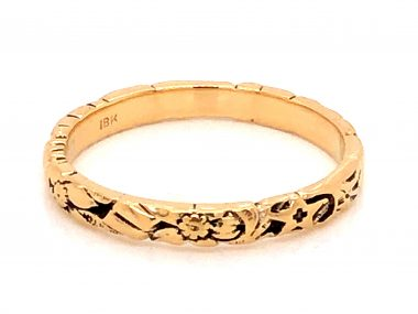 2.63mm Art Deco Engraved Wedding Band in 18k Yellow Gold