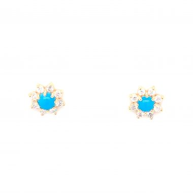 Turquoise and Diamond Stud Earrings in 14k Yellow Gold