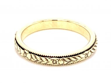 3mm Art Deco Engraved Wedding Band in 14k Yellow Gold