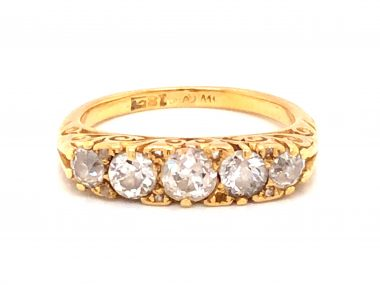 1.09 Victorian Mine Cut Diamond Cocktail Ring in 18K Yellow Gold