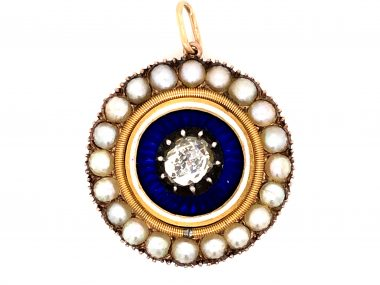 Victorian Diamond & Pearl Pendant in 14k Gold and Sterling Silver