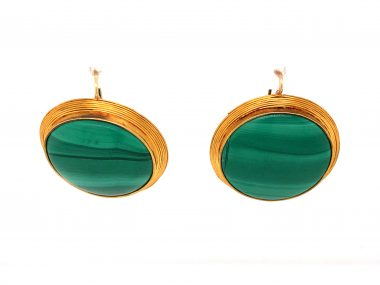 Large Cabochon Malachite Earrings in 14k Yellow Gold