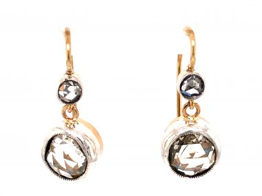 3.04 Victorian Rose Cut Diamond Earrings in 14k Gold and Silver