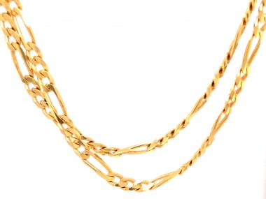 36 Inch Figaro Chain Necklace in 14k Yellow Gold