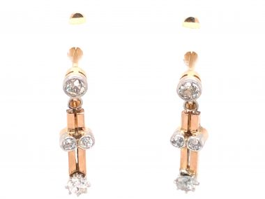 .60 Art Deco Diamond Earrings in 18k Yellow Gold and Platinum