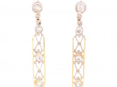 1.14 Art Deco Diamond Earrings in 14k Yellow Gold and Platinum