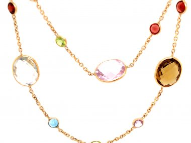 """36"""" Multi-Gemstone Necklace in 14K Yellow Gold"""