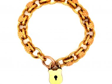Antique Victorian Floral Chain Padlock Bracelet in 14k Yellow Gold