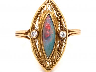 Victorian Opal & Diamond Navette Cocktail Ring 14k Yellow Gold