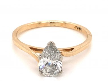 .82 Mid-Century Pear Cut Solitaire Diamond Engagement Ring