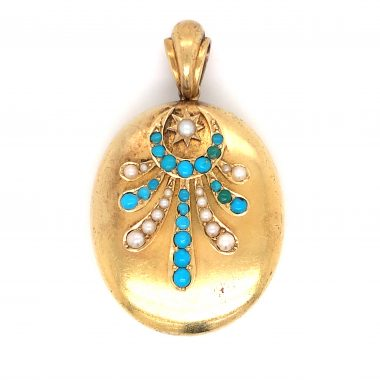 Antique Victorian Turquoise & Pearl Pendant in 14k Yellow Gold