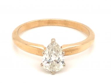 .67 Pear Cut Solitaire Diamond Engagement Ring in 14k