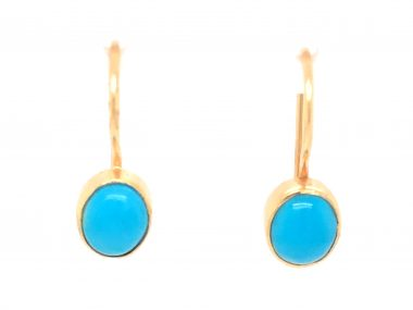 Vintage Mid-Century Turquoise Earrings in 18k Yellow Gold
