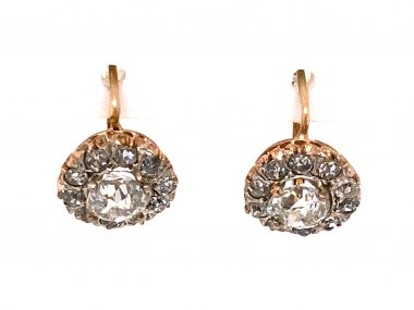 2.48 Victorian Old Mine Cut Diamond Earrings in 14k Gold and Silver