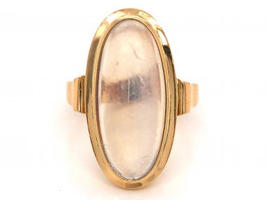 Mid-Century Moonstone Cocktail Ring in 18k Yellow Gold