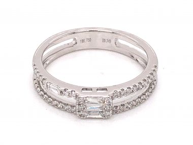 .27 Double Banded Diamond Stacking Ring in 18K White Gold