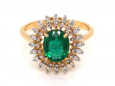 .93 Oval Cut Emerald & Diamond Cocktail Ring in 18k Yellow Gold
