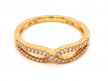 .18 Crossover Diamond Wedding Band in 18k Yellow Gold