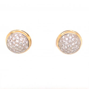 2.00 Pave Cluster Diamond Earrings 14K Yellow and White Gold